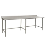 "120""W x 36""D 14-gauge/304 Stainless Steel Top Worktable; Backsplash, with 6 Stainless Steel Tubular Legs, #SMS-88-T36120STE-BS"