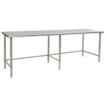 "120""W x 36""D 14-gauge/304 Stainless Top Worktable with Marine Counter Edge and 6 Stainless Tubular Legs, #SMS-88-T36120STEM"