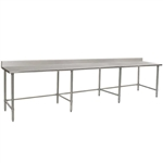 "132""W x 36""D 14-gauge/304 Stainless Steel Top Worktable; Backsplash, with 8 Stainless Steel Legs and Undershelf, #SMS-88-T36132SE-BS"