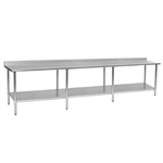 "144""W x 36""D 14-gauge/304 Stainless Steel Top Worktable; Backsplash, with 8 Stainless Steel Legs and Undershelf, #SMS-88-T36144SE-BS"