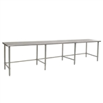 "144""W x 36""D 14-gauge/304 Stainless Steel Top Worktable; Flat Top, with 8 Stainless Steel Tubular Legs, #SMS-88-T36144STE"