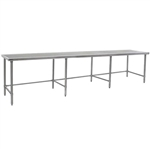 "144""W x 36""D 14-gauge/304 Stainless Top Worktable with Marine Counter Edge and 8 Stainless Tubular Legs, #SMS-88-T36144STEM"