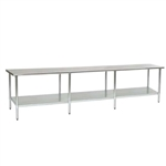 "120""W x 48""D 14-gauge/304 Stainless Steel Top Worktable; Flat Top, with 8 Galvanized Legs and Undershelf, #SMS-88-T48120E"