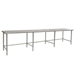 "144""W x 48""D 14-gauge/304 Stainless Steel Top Worktable; Flat Top, with 8 Galvanized Tubular Legs, #SMS-88-T48144GTE"
