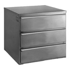 "22-1/2"" x 24"" x 22"" Regular Tier Drawer with Three Drawers and No Legs. Heavy Gauge Type 430 Stainless Steel Cabinet with Three Roller-Track Drawers. Includes Guides, Roller Slides, and Stainless, #SMS-88-TD3"