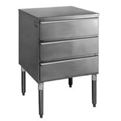"22-1/2"" x 24"" x 34-1/2"" Regular Tier Drawer with Three Drawers and Legs. Heavy Gauge Type 430 Stainless Steel Cabinet with Three Roller-Track Drawers. Includes Guides, Roller Slides, and Stainless, #SMS-88-TD3L"