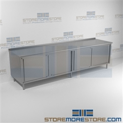 "24"" x 120"" Spec-Master® Enclosed Worktable with Upturn and Sliding Doors: Two Sets, #SMS-88-UCB24120SE"