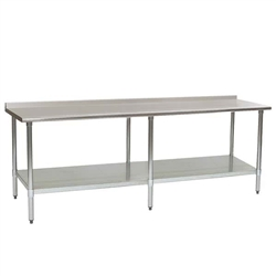"24"" x 108"" 16/304 Stainless Steel Top Worktable; Rear Upturn, Stainless Steel Base with Adjustable Undershelf - Deluxe Series with 6 Legs, #SMS-88-UT24108SEB"