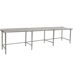 "24"" x 132"" 16/430 Stainless Steel Top Worktable; Rear Upturn and Stainless Steel Tubular Base - Budget Series with 8 Legs, #SMS-88-UT24132STB"