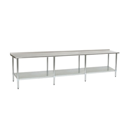 "24"" x 144"" 16/304 Stainless Steel Top Worktable; Rear Upturn, Stainless Steel Base with Adjustable Undershelf - Deluxe Series with 8 Legs, #SMS-88-UT24144SEB"