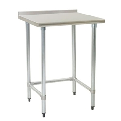"24"" x 24"" 16/430 Stainless Steel Top Worktable; Rear Upturn and Galvanized Tubular Base - Budget Series with 4 Legs, #SMS-88-UT2424GTB"