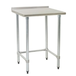 "24""W x 24""D 14-gauge/304 Stainless Steel Top Worktable; Rear Upturn, with 4 Galvanized Tubular Legs, #SMS-88-UT2424GTE"