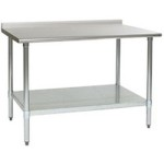 "30""W x 24""D 16-gauge/430 Stainless Steel Top Worktable; Rear Upturn, with 4 Galvanized Legs and Adjustable Undershelf, #SMS-88-UT2430B"