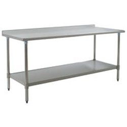 "24"" x 30"" 16/304 Stainless Steel Top Worktable; Rear Upturn, Stainless Steel Base with Adjustable Undershelf - Deluxe Series with 4 Legs, #SMS-88-UT2430SEB"