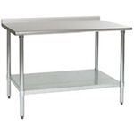 "24"" x 36"" 16/430 Stainless Steel Top Worktable; Rear Upturn, Galvanized Base with Adjustable Undershelf - Budget Series with 4 Legs, #SMS-88-UT2436B"