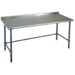 "36""W x 24""D 14-gauge/304 Stainless Steel Top Worktable; Rear Upturn, with 4 Galvanized Tubular Legs, #SMS-88-UT2436GTE"