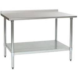 "48""W x 24""D 16-gauge/430 Stainless Steel Top Worktable; Rear Upturn, with 4 Galvanized Legs and Adjustable Undershelf, #SMS-88-UT2448B"