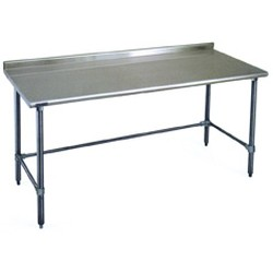 "24"" x 48"" 16/430 Stainless Steel Top Worktable; Rear Upturn and Stainless Steel Tubular Base - Budget Series with 4 Legs, #SMS-88-UT2448STB"