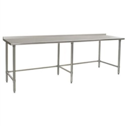 "30"" x 108"" 16/304 Stainless Steel Top Worktable; Rear Upturn and Stainless Steel Tubular Base - Deluxe Series with 6 Legs, #SMS-88-UT30108STEB"
