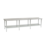 "144""W x 36""D 14-gauge/304 Stainless Steel Top Worktable; Rear Upturn, with 8 Stainless Steel Legs and Adjustable Undershelf, #SMS-88-UT36144SE"