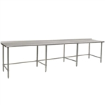 "144""W x 36""D 14-gauge/304 Stainless Steel Top Worktable; Rear Upturn, with 8 Stainless Steel Tubular Legs, #SMS-88-UT36144STE"