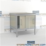 Increase employee efficiency with mail sorting cabinet consoles with sliding doors all aluminum structural framework and comes in wide selection of finishes quality construction 3 mail table depths available Perfect for storing mail machines and scales