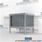 Mail center consoles with lower sliding doors are a perfect solution for manifesting and shipping center all aluminum structural framework and variety of handles available Greenguard children & schools certified Back to back mail sorting station Hamilton