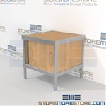 Mail center distribution cabinet consoles with sliding doors are a perfect solution for document processing center mail table weight capacity of 1200 lbs. and lots of accessories includes a 3 sided skirt Full line for corporate mailroom Hamilton Sorter