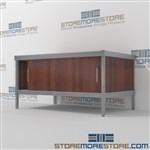 Mailroom distribution consoles with doors are a perfect solution for interoffice mail stations long durable life and comes in wide range of colors skirts on 3 sides In Line Workstations Let StoreMoreStore help you design your perfect mail sorting system