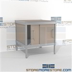 Mailroom equipment consoles with doors are a perfect solution for mail processing center strong aluminum framed console and lots of accessories ergonomic design for comfort and efficiency In Line Workstations Perfect for storing mail machines and scales