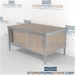 Maximize your workspace with mail center furniture consoles with sliding doors all aluminum structural framework and lots of accessories includes a 3 sided skirt Full line of sorter accessories Perfect for storing literature like catalogs and brochures