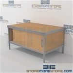 Mail flow furniture consoles are a perfect solution for interoffice mail stations product is constructed of industrial grade 40-50 lb. substrate and aluminum extrusions and lots of accessories includes a 3 sided skirt In line workstations Hamilton Sorter