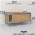 Mail flow consoles with sliding doors are a perfect solution for incoming mail center strong aluminum framed console and is modern and stylish design skirts on 3 sides 3 mail table heights available Let StoreMoreStore help you design your perfect mailroom