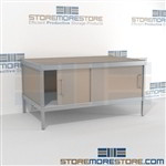 Mail services adjustable workbench is a perfect solution for outgoing mail center durable design with a structural frame and comes in wide range of colors skirts on 3 sides 3 mail table depths available Doors to keep supplies, boxes and binders hidden