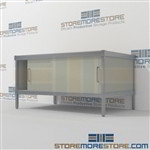 Mail room furniture consoles with sliding doors are a perfect solution for document processing center durable design with a structural frame and variety of handles available quality construction In Line Workstations Easily store sorting tubs underneath