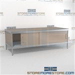 Maximize your workspace with mobile mail center sorting consoles with lower doors durable design with a strong frame and is modern and stylish design includes a 3 sided skirt In line workstations Let StoreMoreStore help you design your perfect mailroom