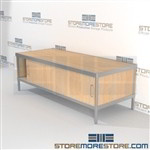 Adjustable mail center bench is a perfect solution for mail & copy center strong aluminum framed console with an innovative clean design built from the highest quality materials Full line for corporate mailroom Specialty tables for your specialty needs