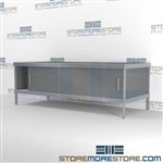 Mail center sort cabinet consoles with bottom sliding doors are a perfect solution for corporate services durable work surface and comes in wide range of colors wheels are available on all aluminum framed consoles In line workstations Hamilton Sorter