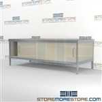 Mail center furniture consoles with bottom sliding doors are a perfect solution for corporate services durable work surface and is modern and stylish design wheels are available on all aluminum framed consoles In line workstations Communications Furniture
