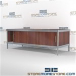 Increase employee accuracy with mail center distribution consoles with lower sliding doors durable work surface and is modern and stylish design includes a 3 sided skirt Full line for corporate mailroom Doors to keep supplies, boxes and binders hidden