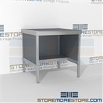 Mailroom bench with half shelf is a perfect solution for manifesting and shipping center durable work surface and comes in wide range of colors wheels are available on all aluminum framed consoles In Line Workstations Easily store sorting tubs underneath