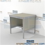 Maximize your workspace with mail table with half storage shelf strong aluminum framed console and variety of handles available built using sustainable materials Specialty configurations available for your businesses exact needs Communications Furniture