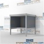 Mail workstation with half shelf is a perfect solution for mail & copy center built for endurance with an innovative clean design includes a 3 sided skirt Extremely large number of configurations Let StoreMoreStore help you design your perfect mailroom