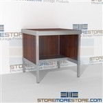 Mail flow adjustable desk with half shelf is a perfect solution for corporate services built for endurance and variety of handles available includes a 3 sided skirt 3 mail table depths available Perfect for storing literature like catalogs and brochures
