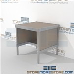 Mail room bench furniture with half shelf is a perfect solution for literature fulfillment center mail table weight capacity of 1200 lbs. and comes in wide selection of finishes skirts on 3 sides Full line of sorter accessories Mix and match components