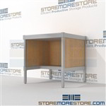 Mailroom adjustable table with lower half shelf is a perfect solution for incoming mail center durable design with a strong frame and variety of handles available includes a 3 sided skirt L Shaped Mail Workstation Easily store sorting tubs underneath