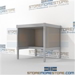 Mail room work table distribution with half storage shelf is a perfect solution for literature processing center long durable life with an innovative clean design built using sustainable materials In Line Workstations Easily store sorting tubs underneath