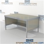 Increase efficiency with mail flow work table with half storage shelf durable work surface and lots of accessories aluminum frames eliminate exposed edges and protect laminate work surfaces 3 mail table depths available Perfect for storing mail supplies