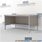 Maximize your workspace with mail room workbench equipment with half storage shelf durable design with a strong frame with an innovative clean design includes a 3 sided skirt 3 mail table depths available Doors to keep supplies, boxes and binders hidden