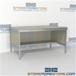 Mail room workstation with half shelf is a perfect solution for literature fulfillment center long durable life and comes in wide range of colors skirts on 3 sides 3 mail table depths available Let StoreMoreStore help you design your perfect mailroom